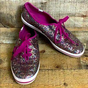 Keds Kate Spade rainbow glitter tennis shoes 9.5